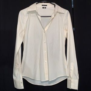 Theory white yellow striped top